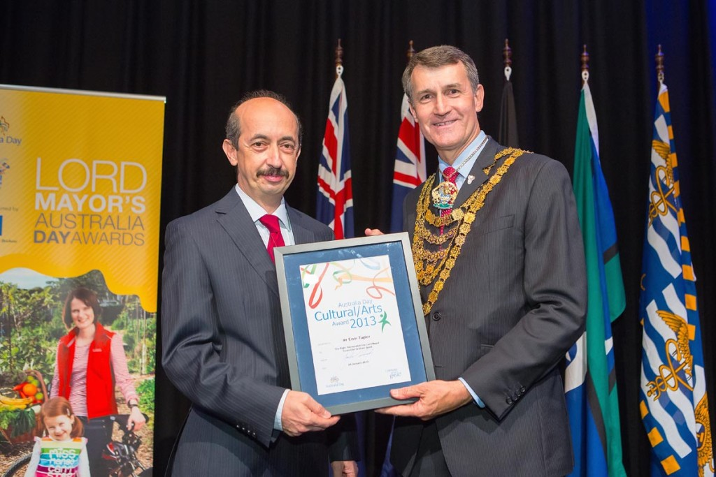 Brisbane City Council Lord Mayor presenting Australia Day Awards 2013